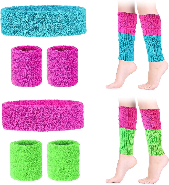 Xaatren 10 Pieces Headband Wristbands Leg Warmers Set Neon 80s Women Sport Accessories Set for Running, Yoga
