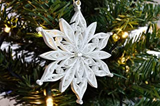 Paper Decorative Ornaments - Quilled snowflake Christmas decoration, Snowflake paper ornament, Christmas quilling, Holiday ornament, Tree decoration, Stocking stuffer