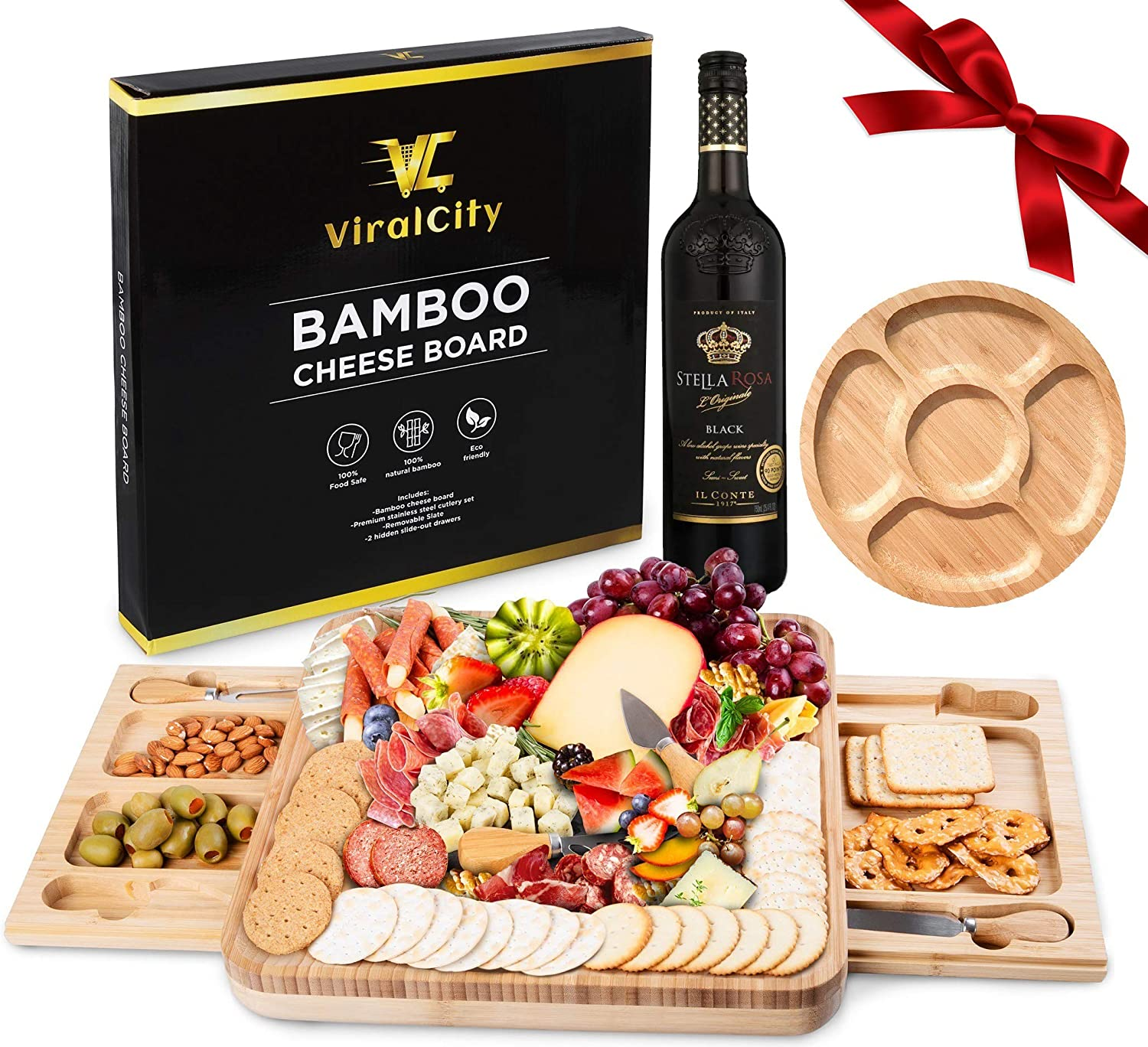 ViralCity Bamboo Cheese Ranking TOP9 Board and Knife Snack Set Tray Included Oklahoma City Mall
