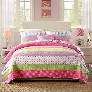 Best Comforter Set 3 Pieces Bedding Set Pink Dot Striped Floral Bedspread Quilt Sets King for Girl Kids Children Cotton