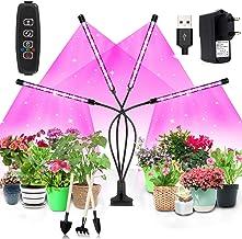 Lampe à LED pour plantes,80 LEDs développent un spectre complet de lumière avec minuterie de mise en marche et d'arrêt automatique 3/9 / 12H, rouge et bleu, USB + adaptateur secteur