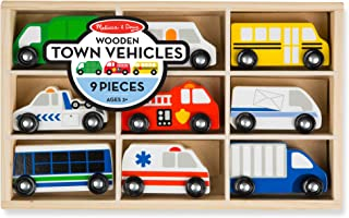 Melissa & Doug Wooden Town Vehicles Set (Wooden Storage Tray, 9 Pieces, Great Gift for Girls and Boys - Best for 3, 4, and...