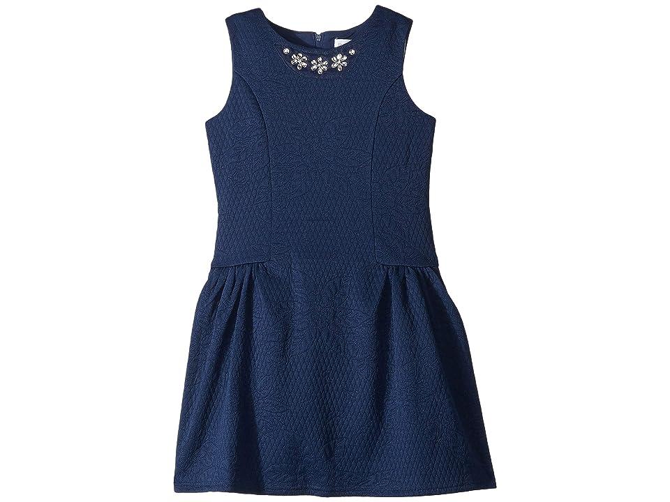 Us Angels Textured Knit Dress (Little Kids) (Navy) Girl