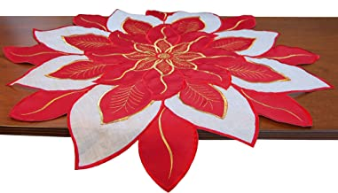 EcoSol Designs Embroidered Holiday Table Topper (Red Poinsettia)