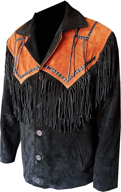 Classyak Men's Western Fringed Suede Leather Black & Brown Coat