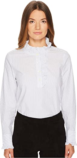 Kate Spade New York - Stripe Ruffle Neck Poplin Shirt