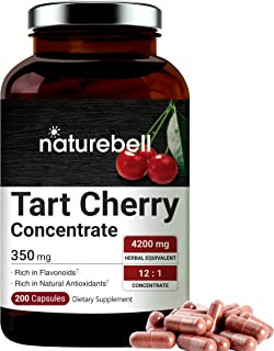 NatureBell Organic Tart Cherry Concentrate 4200mg Herbal Equivalent, 200 Capsules, Natural Flavonoids and Antioxidants, No...