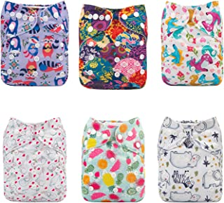 ALVABABY Cloth Diapers One Size Adjustable Washable Reusable for Baby Girls and Boys 6 Pack with 12 Inserts 6DM51