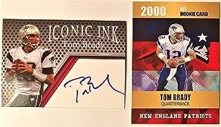 2000 TOM BRADY Custom NFL Rookie Card AND 2019 Iconic Ink Fascimile Autograph Football Card