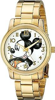 ساعة ديزني للجنسين W001844 ميكي ماوس انالوج بعقارب كوارتز ذهبية