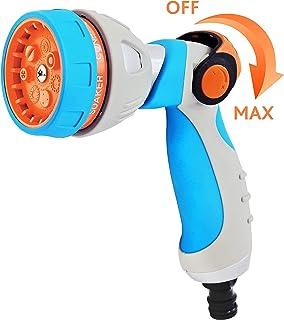GR�NTEK Quick Connector Metal Garden Shower, Garden Hose Nozzle with 7 Jets, Multifunctional Hand Shower - Garden Spray Gun with Adjustable Water Strength - with European Quick Connector
