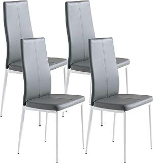 Miroytengo 4 sillas Polipiel Color Gris Sora cómodas y Estilo Moderno Comedor salón 98x42x47