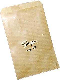 50 pezzi Sacchetti Stampati carta Kraft,10x16 centimetri, Grazie di Cuore, confettata, avana, bustine carta, sacchetti car...