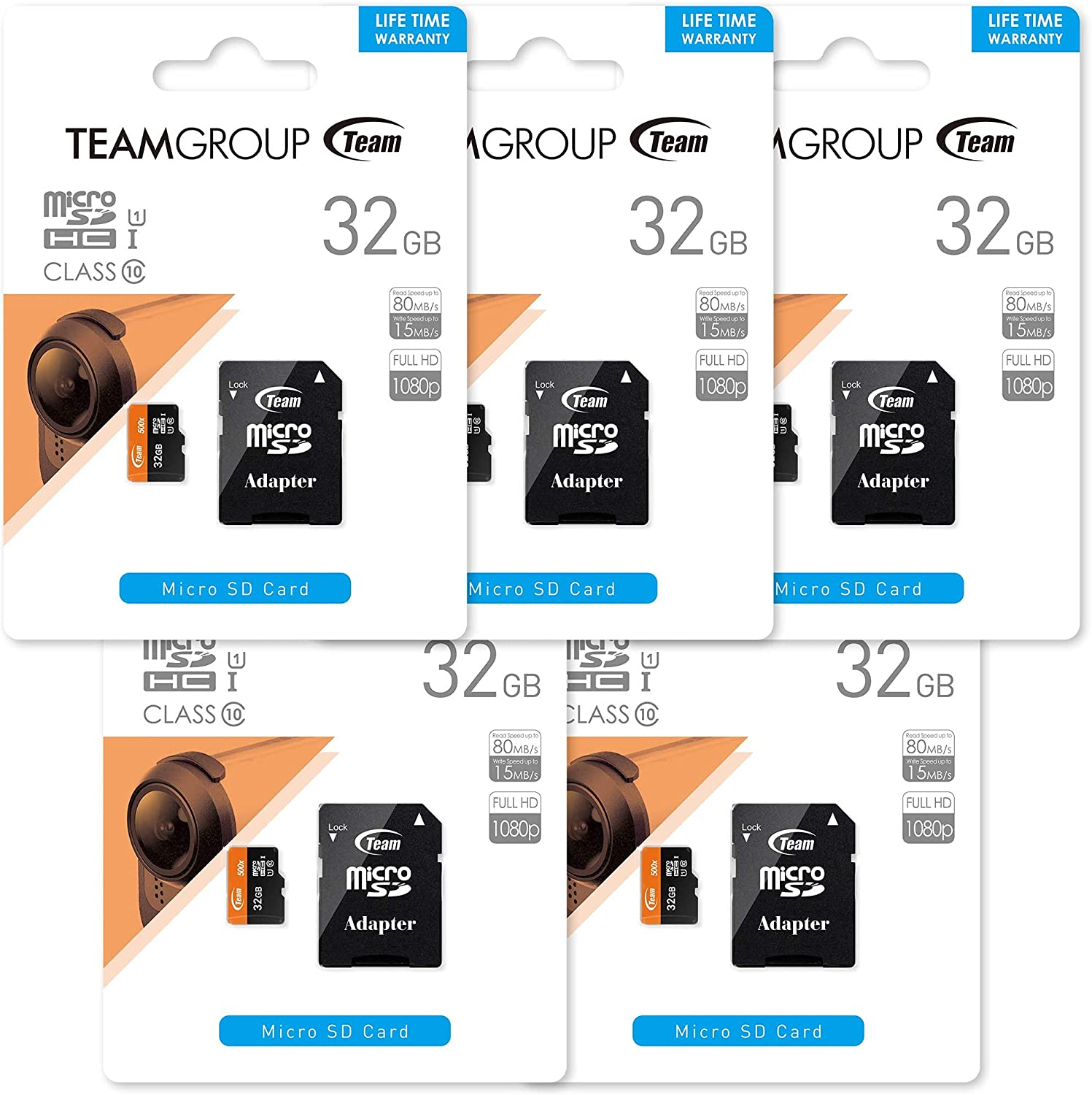 TEAMGROUP UHS-I Card 32GB -5PACK Micro SDHC Class 10 U1 Meomry Card with Adapter for Camera, Surveillance, Full HD Shooting TUSDH32GUHS59