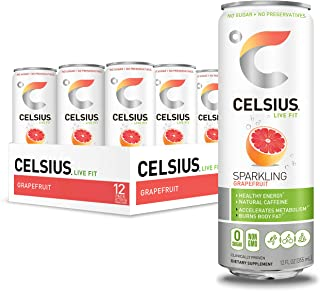 CELSIUS Sweetened with Stevia Sparkling Grapefruit Fitness Drink, Zero Sugar, 12oz. Slim Can (Pack of 12)
