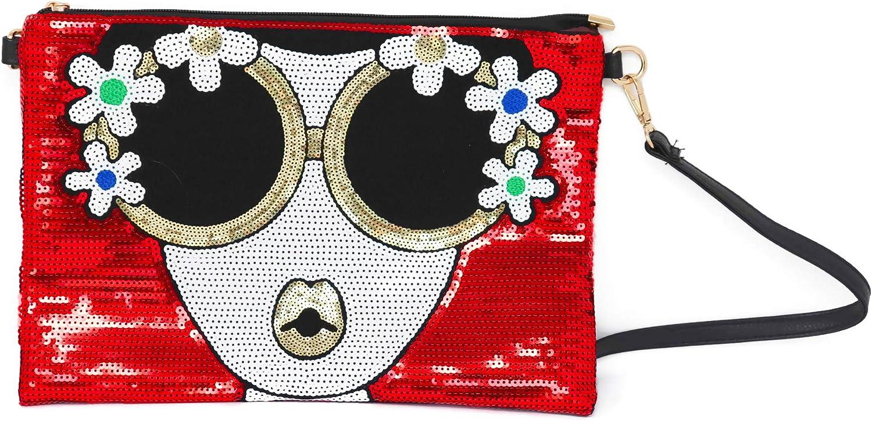 BOUTIQUES Oversized Sequin Clutch Purse Large Design Leather Evening Wristlet Handbag Shoulder for ladies