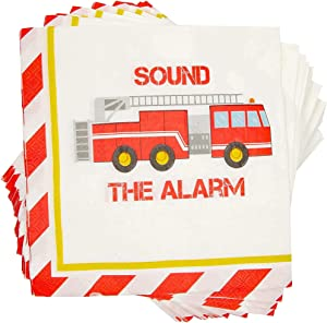 Fire Truck Paper Napkins for Kid's Birthday Party (6.5 x 6.5 In, 100 Pack)