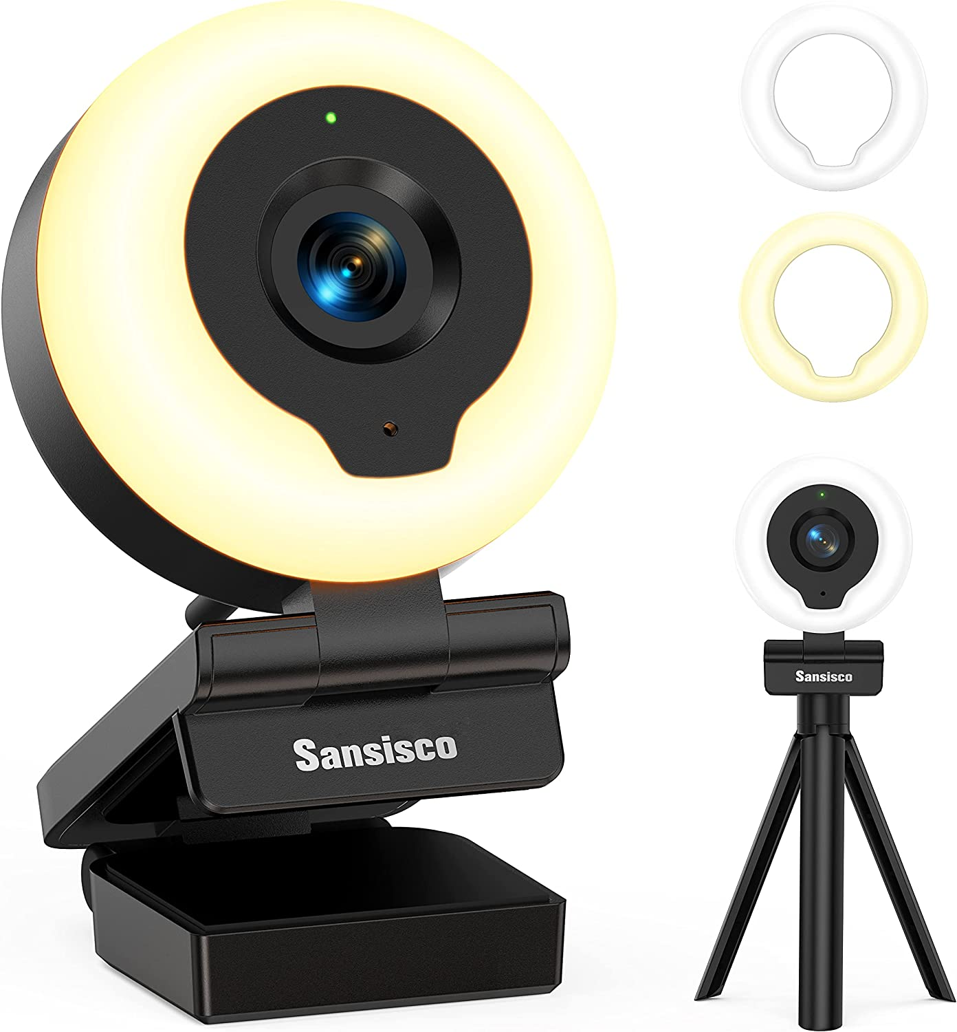 Webcam with Ring Light, Sansisco AutoFocus FHD 1080P Webcam with Microphone, 2 Colors and 3-Level Brightness, Plug and Play Computer Camera, Streaming Web Camera for Laptop MacBook PC for Zoom, Skype