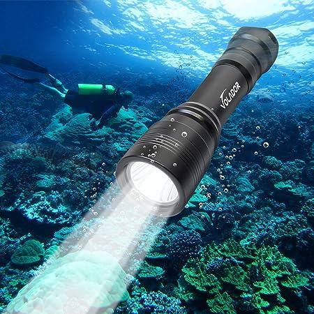 VOLADOR Linterna de Buceo, Antorcha de Buceo, 1000 Lúmenes Luces Sumergibles, Recargable Linternas de 150 Metros Linterna Submarina con 1x 18650 Batería y Cargador.
