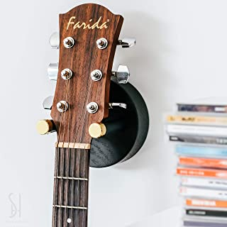 Best Stelle & Hegen Premium Guitar Hanger and Guitar Wall Mount Hanger Hook Holder for Electric, Bass and Acoustic Guitars. Guitar Accessories, Guitar Gifts for Musicians - Black Wood Review