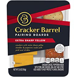Cracker Barrel Pairing Boards Extra Sharp Yellow Cheddar Cheese with Pepperoni Slices & Butter Crack