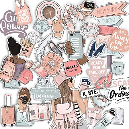 Girls Power, Time to Travel and Adventure Waterproof Vinyl Sticker- Pack of 40 (Mix)