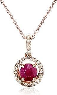 Jewelili 10kt Rose Gold 5mm Round Gemstone and 1/10cttw Round Natural White Diamonds Halo Pendant Necklace, 18