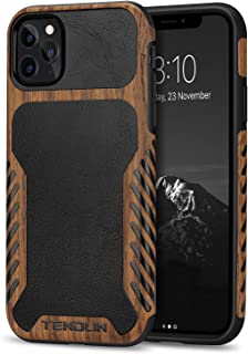 TENDLIN Compatible with iPhone 11 Pro Case Wood Grain with Leather Outside Design TPU Hybrid Case