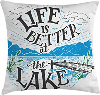 Ambesonne Cabin Throw Pillow Cushion Cover, Life is Better at The Lake Wooden Pier Plants Mountains Sketch Art, Decorative Square Accent Pillow Case, 16 X 16 Inches, Blue Jade Green Charcoal Grey