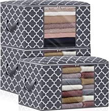 WISELIFE Storage Bags 100L 3-Pack Large Blanket Clothes Organization and Storage Containers for Bedding, Comforters, Folda...