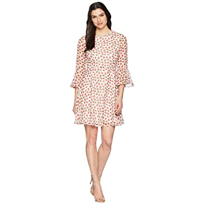 Donna Morgan Printed Chiffon Fit and Flare with Bell Sleeve (Ivory/Ruby Red Multi) Women