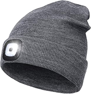 LED Beanie Hat with Light,Unisex USB Rechargeable Hands Free 4 LED Headlamp Cap Winter Knitted Night Lighted Hat Flashligh...