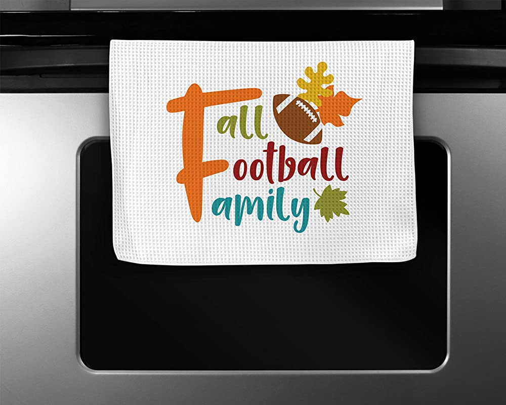 Fall Football Family Kitchen Towel 16 X24 Inches Waffle Weave Microfiber Autumn Season Dishcloths Wedding Gift