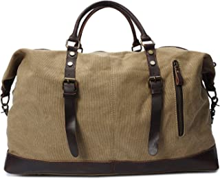LIUFULING Travel Duffel Bags Vintage Canvas Shoulder Bags Weekend Bag for Men (Color : Beige, Size : L)