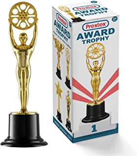 Prextex 10-Inch Gold Movie Buff Award Trophy for Trophy Awards and Party Celebrations, Award Ceremony, and Appreciation Gift,