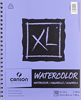 Canson XL Series Watercolor Textured Paper, Use with Paint Pencil Ink Charcoal Pastel and Acrylic, Side Wire Bound, 140 Po...