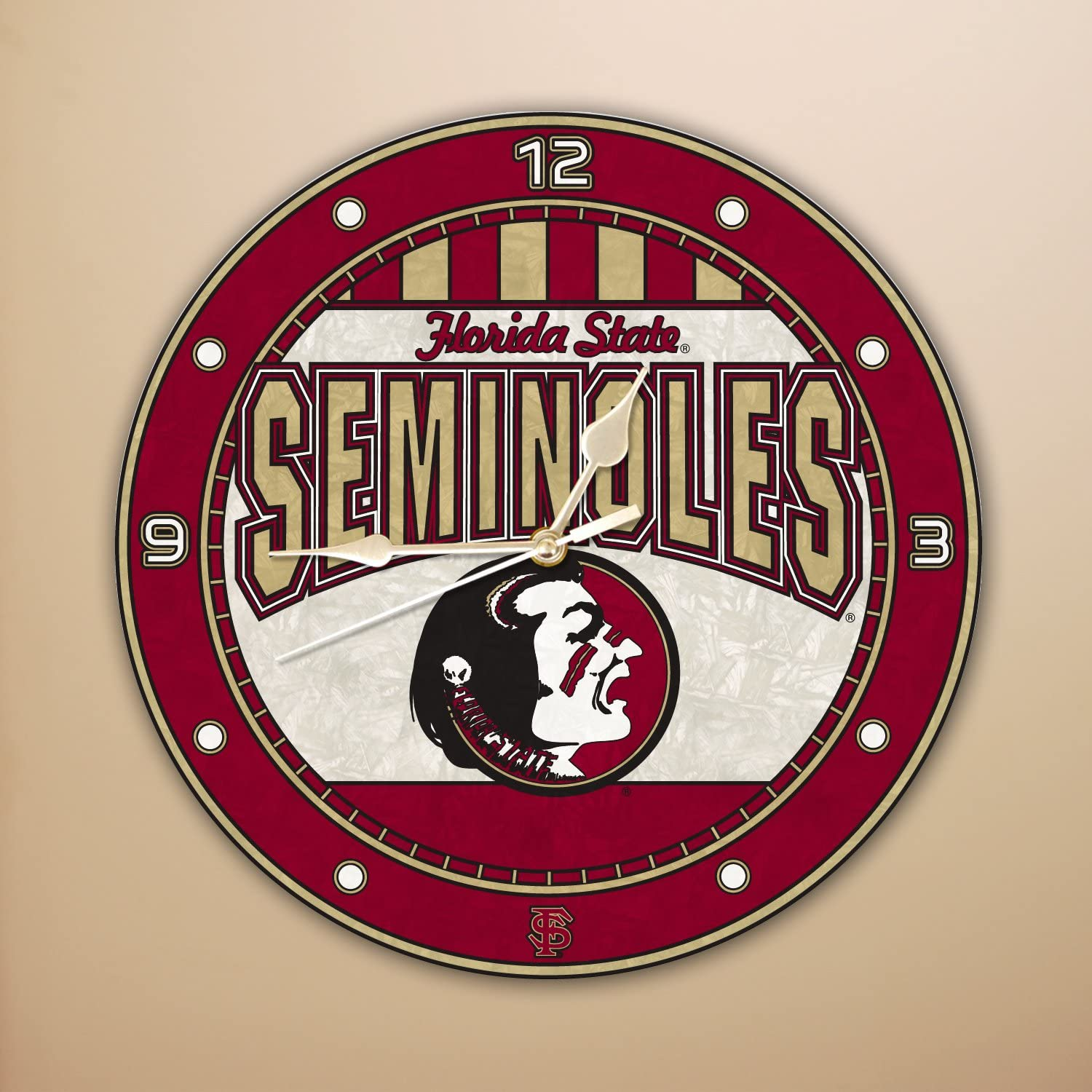 Memory Company Florida Challenge the lowest price of Japan ☆ State Seminoles Art 12in Max 83% OFF Clock Glass