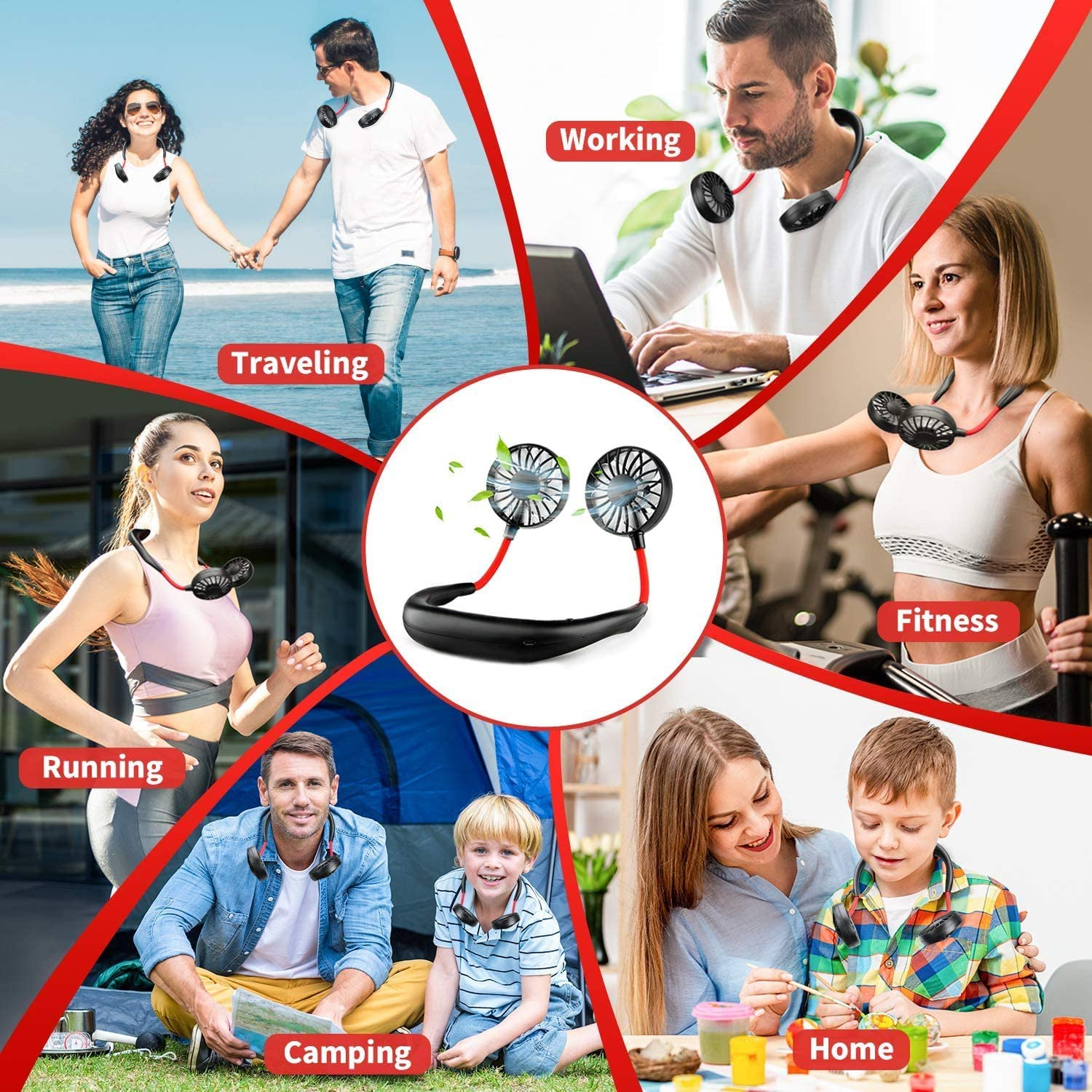 Neck Portable Fan, Hand Free Personal Mini Fans USB Rechargeable,360 Degree Free Rotation for Traveling, Sports, Office, Reading (3 Speed Adjustable, Headphone Design) Wearable Neckband Cooler (white)