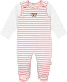 Steiff Baby-Unisex süßer Teddybärapplikation Set Strampler  T-Shirt Langarm GOTS, Zephyr, 056