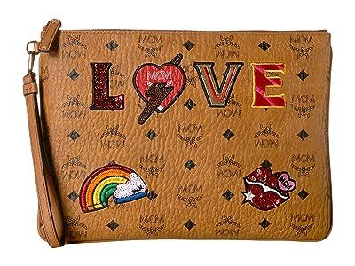MCM Love Patch Visetos Pouch Medium (Cognac) Handbags