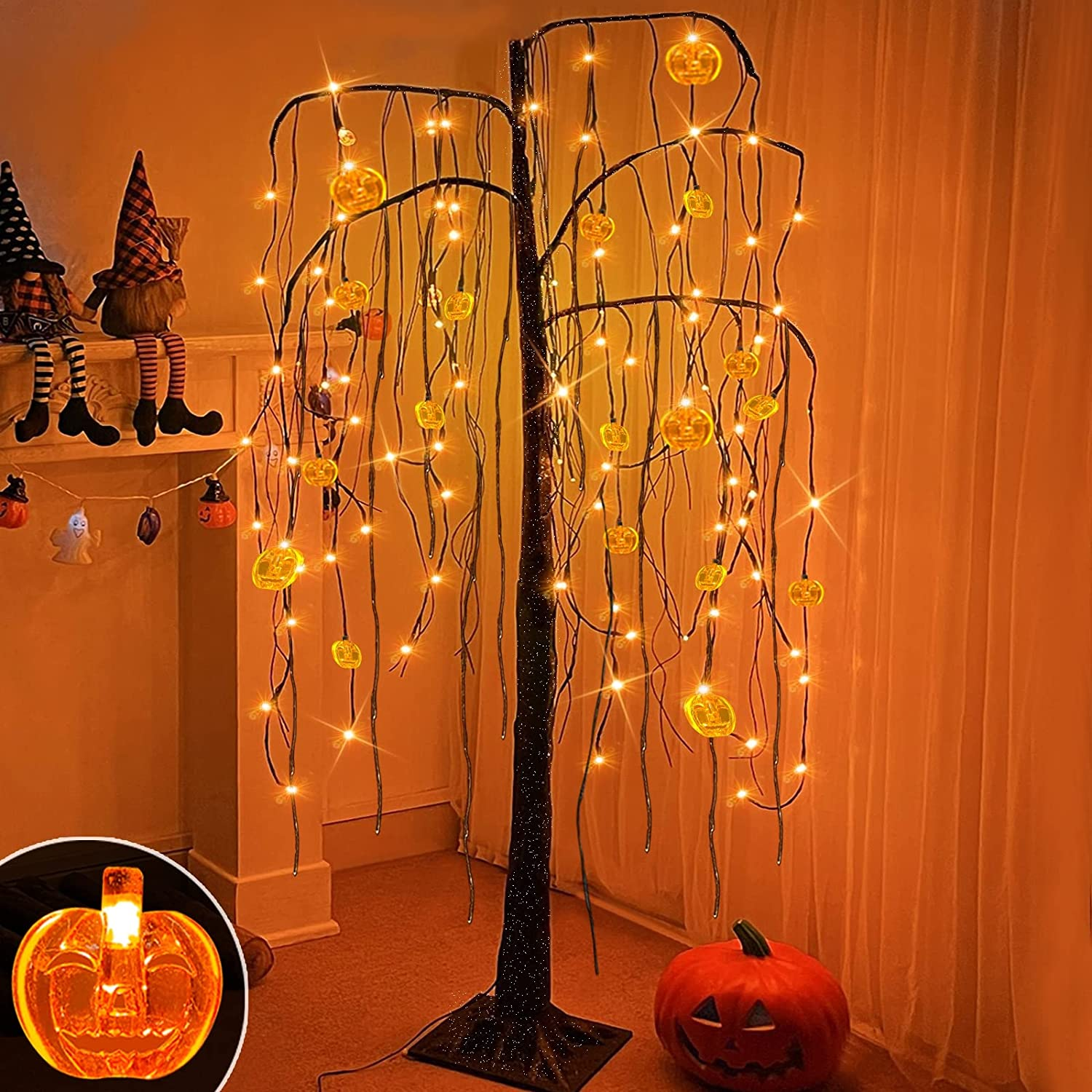 TURNMEON 5 FT Prelit Halloween Willow Tree Decor with Timer, 108 Led & Pumpkin Lights Glittered Spooky Black Artificial Tree Scary Ornaments Halloween Decorations Indoor Outdoor Home(Plug in/4 Stakes)