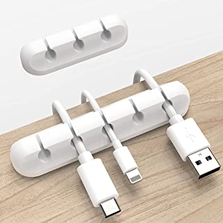 White Cable Clips, Cord Organizer Cable Management, Cable Organizers USB Cable Holder Wire Organizer Cord Clips, 2 Packs C...