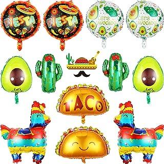 Fiesta Theme Party Decoration Supplies Mexico Taco Llama Cactus Avocado Jumbo Mylar Foil Balloons for Cinco De Mayo Taco B...