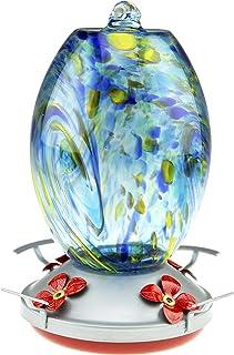 Clever Garden Hummingbird Feeder with Perch | Hand Blown Flat Glass in Blue & Green | 27 Fluid Ounces Humming Bird Nectar ...
