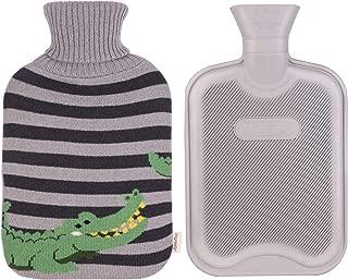 HomeTop Classic Rubber Hot Water Bottle w/Cute Yarn Knit Crocodile Cover (2 Liter) (Black/Gray)