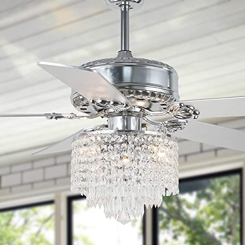 """lowest 52"""" Crystal Ceiling Fan with Lights and Remote Control Modern online Chandelier Ceiling Fan Fandelier sale with Reversible Blades, Silent Motor, 3 Speed, 4 Timing Options, Chrome outlet sale"""
