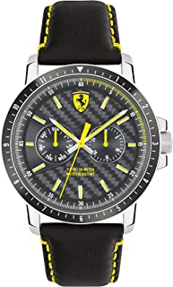 Ferrari Men's Black Dial Leather Band Watch - 830450