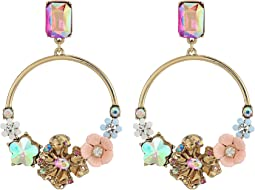 Betsey Johnson Blooming Flower Hoop Earrings