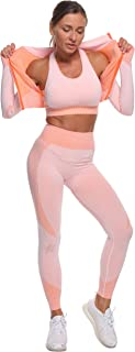 Women's Tracksuit Workout Outfits - Seamless High Waist Leggings and Long Sleeve Crop Top Yoga Activewear Set