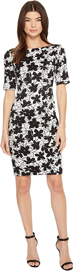 Calvin Klein - Printed 3/4 Sleeveless Floral Compression Jacquard CD8E28JW